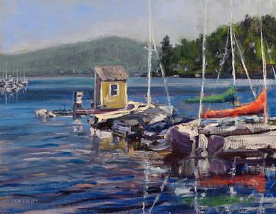 Lake Sunapee Boat Dock Art Print by Ken Fiery