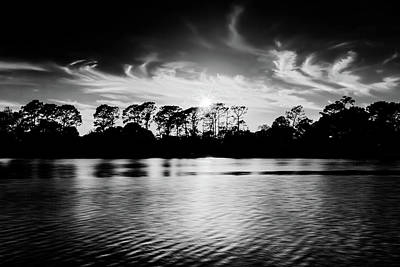 Photograph - Lake Sunset In Black And White by Kay Brewer