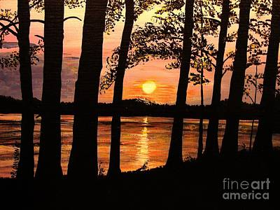 Art Print featuring the painting Lake Sunset by Patricia L Davidson