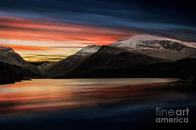 Photograph - Lake Sunset Snowdonia by Adrian Evans