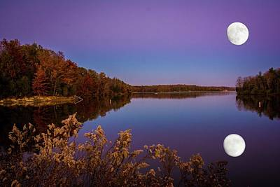 Photograph - Lake Super Moon Reflection by Randall Branham