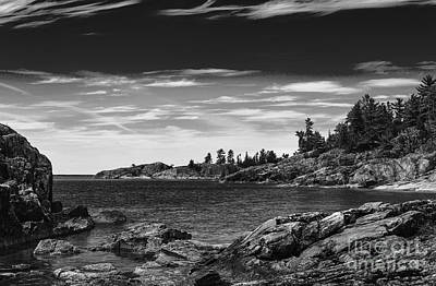 Photograph - Lake Superior Coastline - Monochrome by Les Palenik