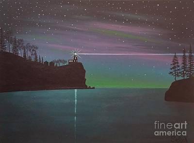 Split Rock Lighthouse Painting - Lake Superior Light Show by Dan Shefchik