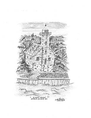 Lighthouse Drawing - Lake Superior Lighthouse. by Bob and Carol Garrison