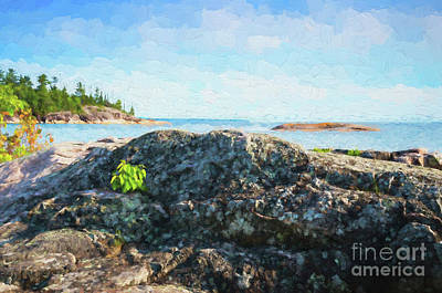 Digital Art - Lake Superior North Shore Rocks by Les Palenik