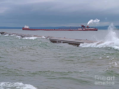 Photograph - Lake Superior Shipping by Ann Horn