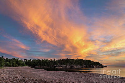 Mans Best Friend - Lake Superior Sunset Sky by Les Palenik