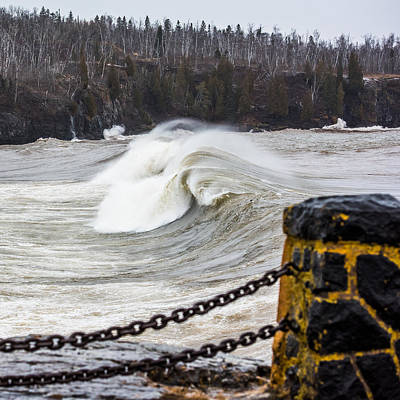 Duluth Photograph - Lake Superior Surfs Up by Paul Freidlund