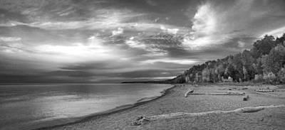Photograph - Lake Superior Vista Black And White by Leda Robertson