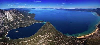 Print featuring the photograph Lake Tahoe Aerial Panorama - Emerald Bay Aerial by Brad Scott
