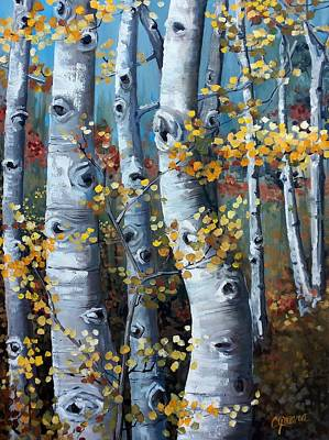 Painting - Lake Tahoe Aspens by Cynara Shelton