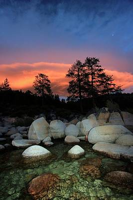 Photograph - Lake Tahoe Explosive Twilight by Sean Sarsfield