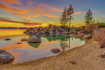 Sand Harbor Photograph - Lake Tahoe Majestic Sunset by Scott McGuire