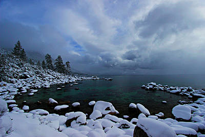 Lake Tahoe Snow Day Art Print by Sean Sarsfield