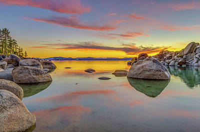 Photograph - Lake Tahoe Spring Sunset Reflection by Scott McGuire