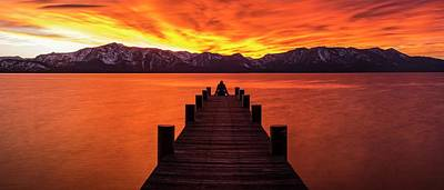 Photograph - Lake Tahoe Sunset Pier By Brad Scott by Brad Scott