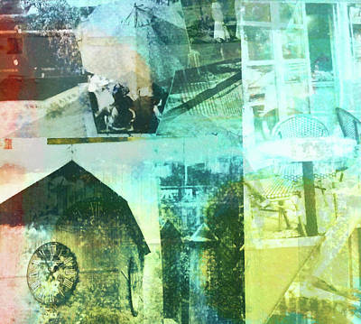 Digital Art - Lake Town Collage by Susan Stone