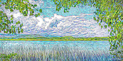 Digital Art - Lake Trees Clouds - Boulder County Colorado by Joel Bruce Wallach