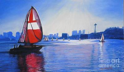 Lake Union And The Red Sail Art Print by Terri Thompson