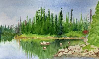Art Print featuring the painting Lake View 1-2 by Yoshiko Mishina