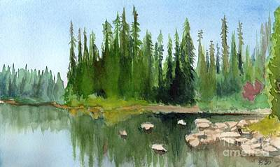 Art Print featuring the painting Lake View 1 by Yoshiko Mishina