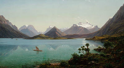 Painting - Lake Wakatipu With Mount Earnslaw, Middle Island, New Zealand by Eugene von Guerard