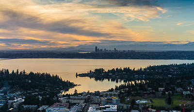 Seattle Skyline Photograph - Lake Washington And The Seattle Skyline Aerial by Mike Reid