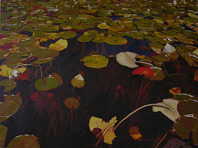 Print featuring the painting Lake Washington Lilypad 7 by Thu Nguyen