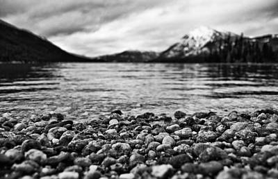 Lake Wenatchee Rocks Black And White Art Print