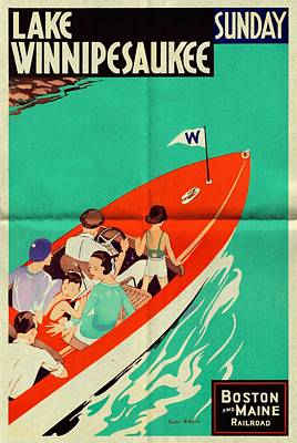 Mixed Media - Lake Winnipesaukee - Folded by Vintage Advertising Posters
