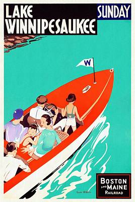 Mixed Media - Lake Winnipesaukee - Restored by Vintage Advertising Posters