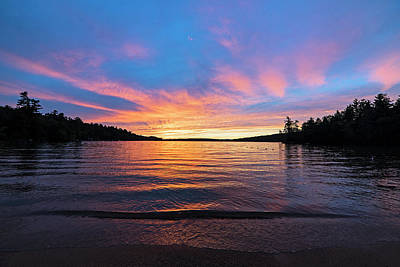 Photograph - Lake Winnipesaukee Sunset Carry Beach Wolfeboro Nh Blue Skies by Toby McGuire