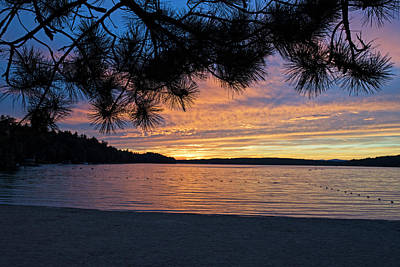 Photograph - Lake Winnipesaukee Sunset Carry Beach Wolfeboro Nh Blues by Toby McGuire