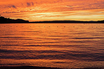 Photograph - Lake Winnipesaukee Sunset Carry Beach Wolfeboro Nh Golden Water by Toby McGuire