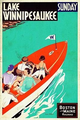 Mixed Media - Lake Winnipesaukee - Vintagelized by Vintage Advertising Posters
