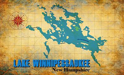 Digital Art - Lake Winnipessaukee New Hampshire Vintage Print  by Greg Sharpe