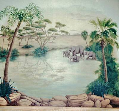 Painting - Lake With Oasis And Palm Trees by Suzn Art Memorial