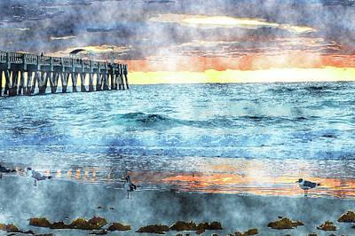 Mixed Media - Lake Worth Pier Art by Ken Figurski