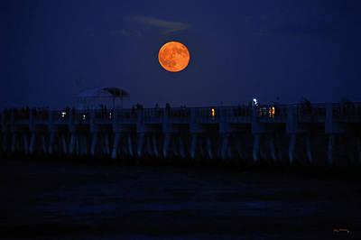 Beastie Boys - Lake Worth Pier Orange Moonrise by Ken Figurski