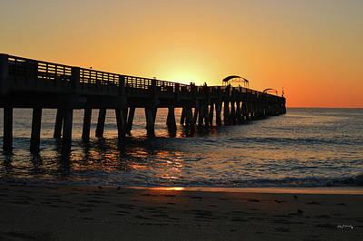 Photograph - Lake Worth Pier Orange Sunrise by Ken Figurski