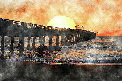 Mixed Media - Lake Worth Pier Sunrise Art by Ken Figurski