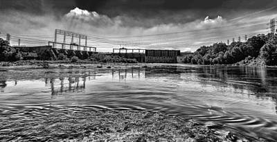 Photograph - Lake Wylie Hydro-electric Dam Bw by Jim Dollar