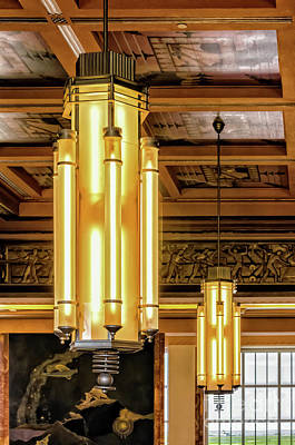 Photograph - Lakefront Airport Art Deco Chandeliers by Kathleen K Parker