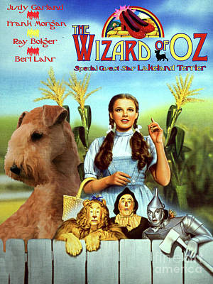 Painting - Lakeland Terrier Art Canvas Print - The Wizard Of Oz Movie Poster by Sandra Sij