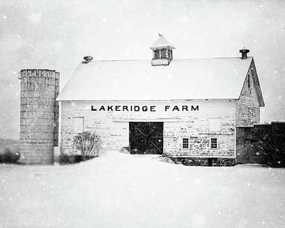 Photograph - Lakeridge Farm In The Snow In Black And White by Lisa Russo