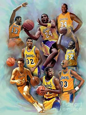 Magic Johnson Painting - Lakers Legends by Blackwater Studio