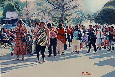 Painting - Lakeshore Blvd. Picnic Line Dance by David Buttram