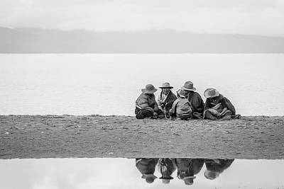 Art Print featuring the photograph Lakeshore Discussion, Namtso, 2007 by Hitendra SINKAR