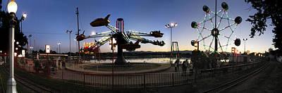 Lakeside Amusement Park At Night Panorama Photo Art Print by Jeff Schomay