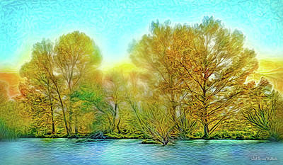 Digital Art - Lakeside Autumn Glow by Joel Bruce Wallach